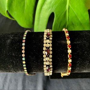 Jewelry - Multiple rhinestone bracelets with colored gems